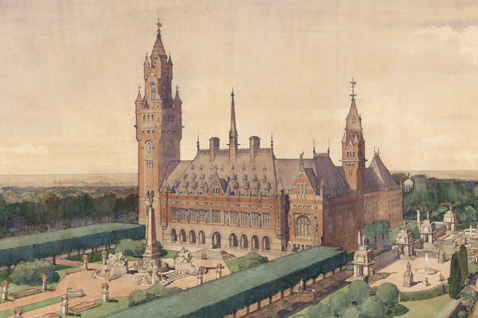 atercolour of the Peace Palace in the Hague. Copyright: Peace Palace/Carnegie Stichting