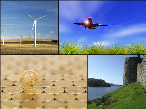 Montage of images: wind turbines, airplane, pound coins and castle ruins