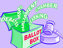 Illustration of a ballot box and a gavel