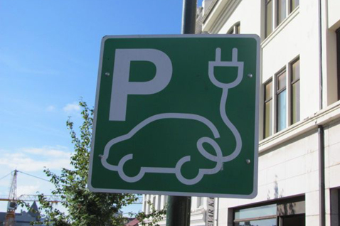 Electric car charge point sign