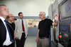 From left, Mike MacKenzie MSP, Patrick Harvie MSP, Murdo Fraser MSP in Adam Smith College's machine workshop. The Members were shown the computerised machining tools in the workshop by lecturer Harry Reekie.