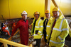 Graham Monaghan, Project Engineer for BiFab's Britannia Monocolumn project shows, from left, Patrick Harvie MSP, Mike MacKenzie MSP and Murdo Fraser MSP around their fabrication plant in Methil, Fife