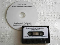 CD, braille and audio tape formats