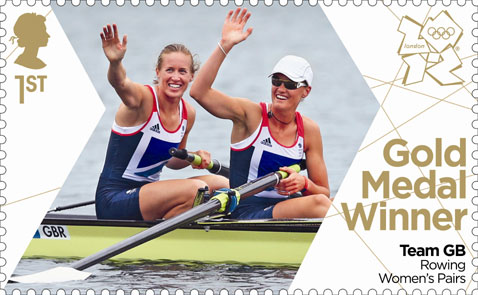 Stamp commemorating Helen Glover and Heather Stanning's gold medal win in the Women's Pairs rowing final at the London Olympics