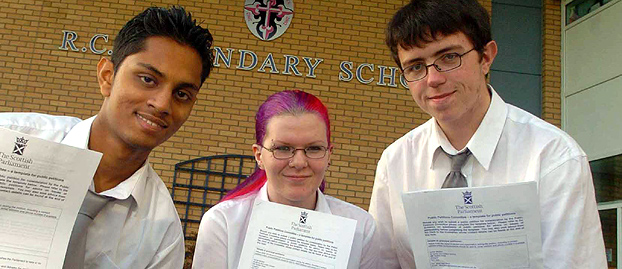 Pupils from All Saints Secondary School in Glasgow with their petition (image taken in 2006)