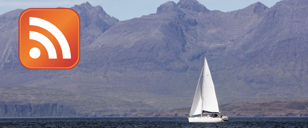 Image of a yacht sailing in front of the Black Cuillin Hills on the Isle of Skye, with inset RSS logo