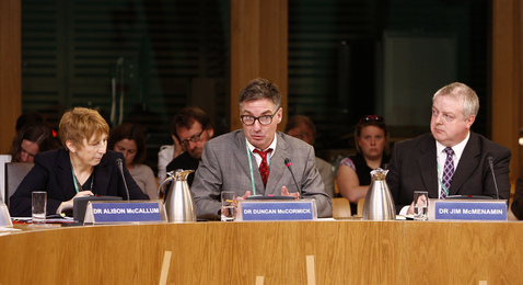 Dr Duncan McCormick gives evidence to the Health and Sport Committee as they take evidence on the recent Legionnaire's outbreak in Edinburgh.  Left, Dr Alison McCallum and, right, Dr Jim McMenamin