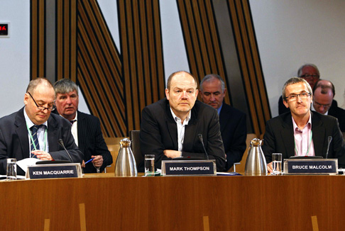 Mark Thompson, Director-General of the BBC, Ken MacQuarrie, Director, BBC Scotland and Bruce Malcolm, Chief Operating Officer, BBC Scotland, at the Scottish Parliament's Education and Culture Committee evidence session on broadcasting.