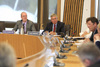 Deputy Convener, Kevin Stewart MSP and Chairman of Forth Valley NHS, Alex Linkston at the Local Government and Regeneration Committee Benchmarking event 2012
