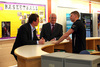 Health and Sport Committee convener Duncan McNeil MSP, centre, and Drew Smith MSP, left, chat with Richard Harris on a visit to St Maurice's High School in Cumbernauld.