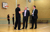 Richard Harris, left, Duncan McNeil MSP, centre, and Drew Smith MSP in the gym hall at St Maurice's High School in Cumbernauld.