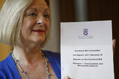 Committee Convener Linda Fabiani MSP with the Report on the Scotland Bill