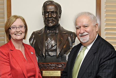 Presiding Officer Rt Hon Tricia Marwick MSP with Vartan Gregorian, President of the Carnegie Corporation of New York