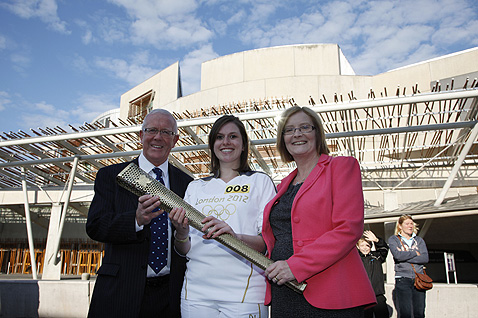 Presiding Officer Tricia Marwick MSP and Cabinet Secretary for Parliamentary Business and Government Strategy Bruce Crawford MSP greeted Olympic torch bearer Sophie Hanson from Alnwick.